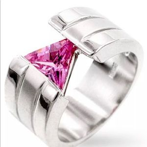 Geometric Triangle Pink CZ Ring Silver Rhodium